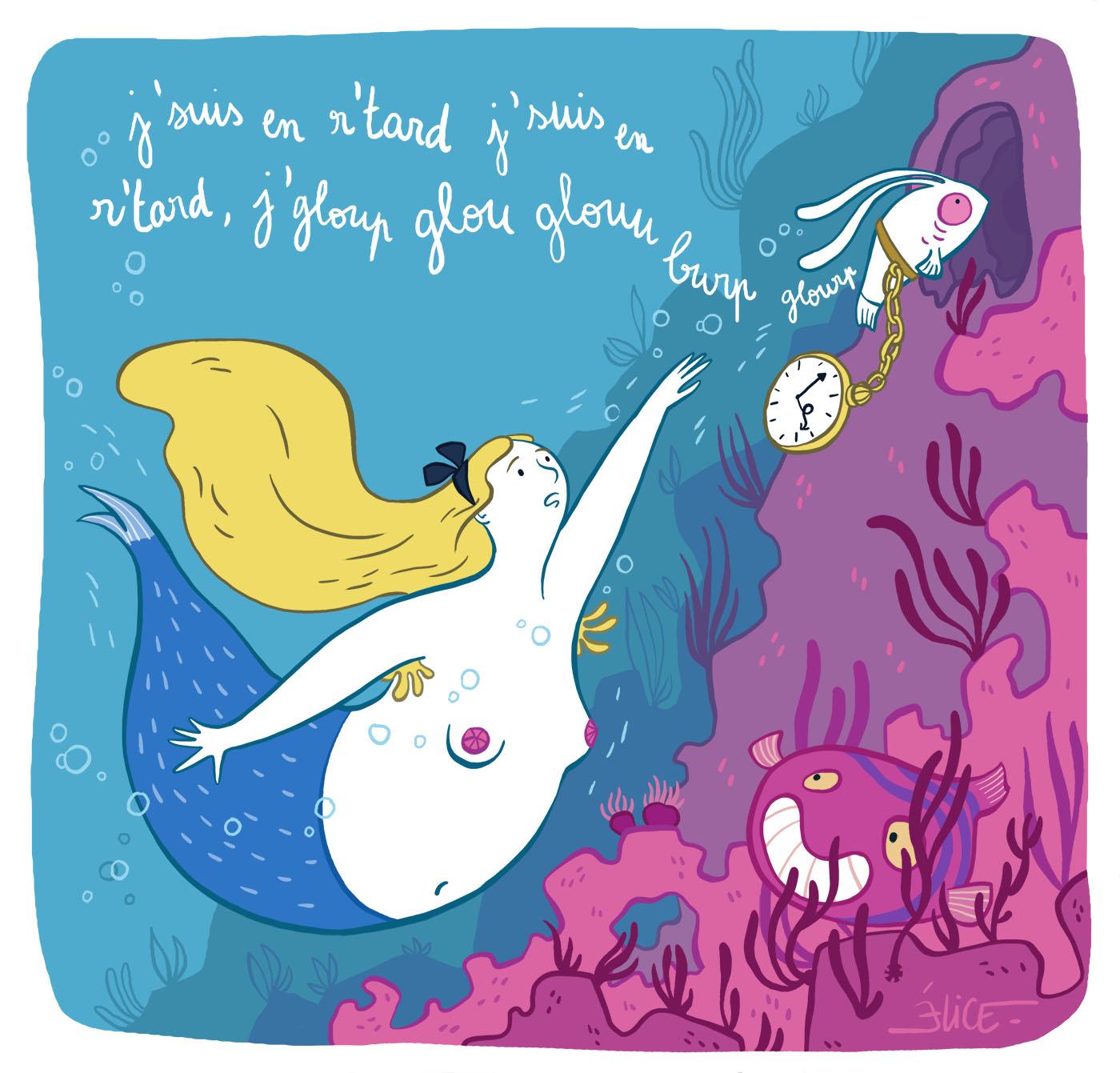 Parodie d'Alice au pays des merveilles mode aquatique