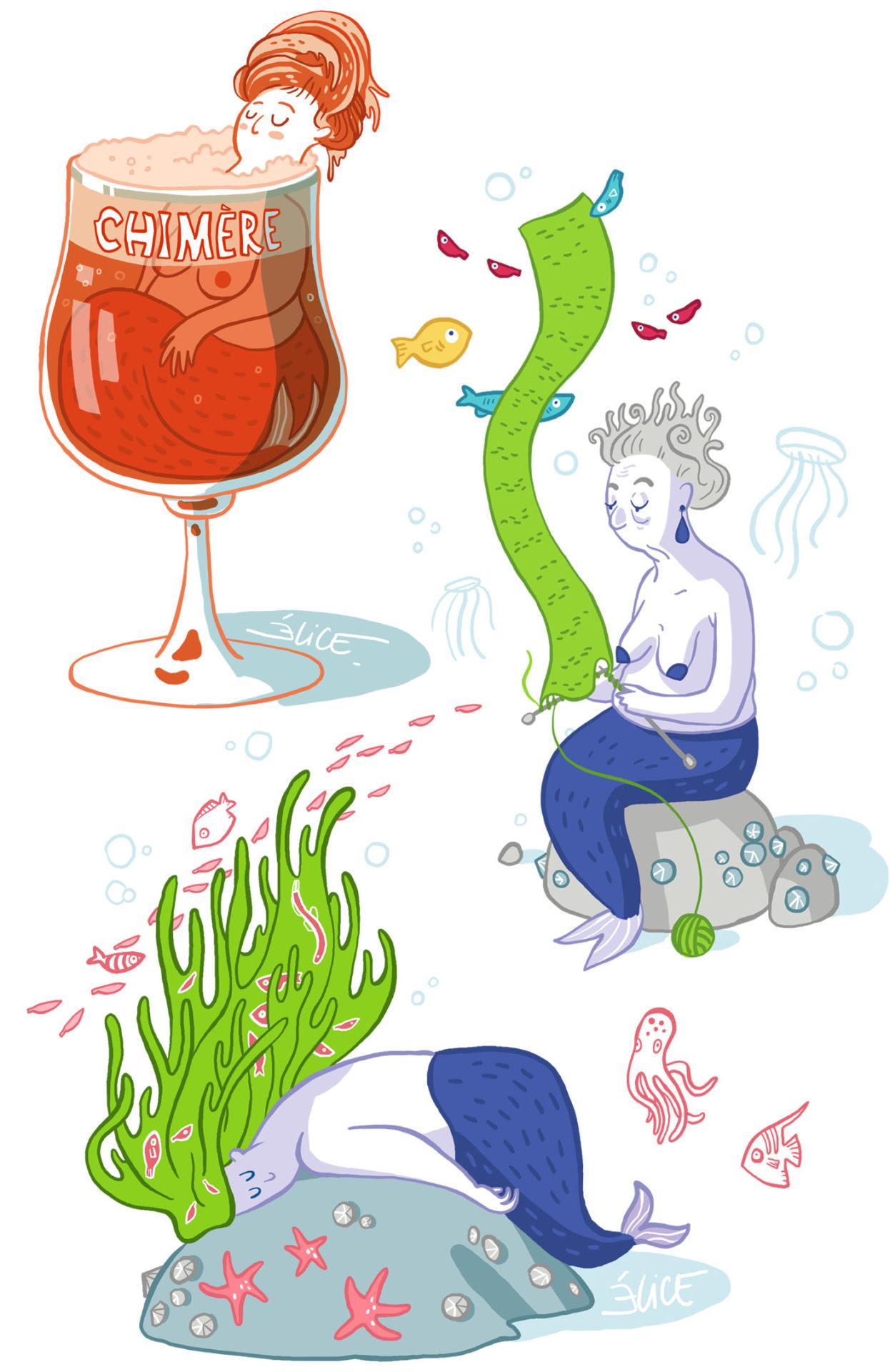 Sirène dans un verre de bière, sirène qui tricote, sirène endormie