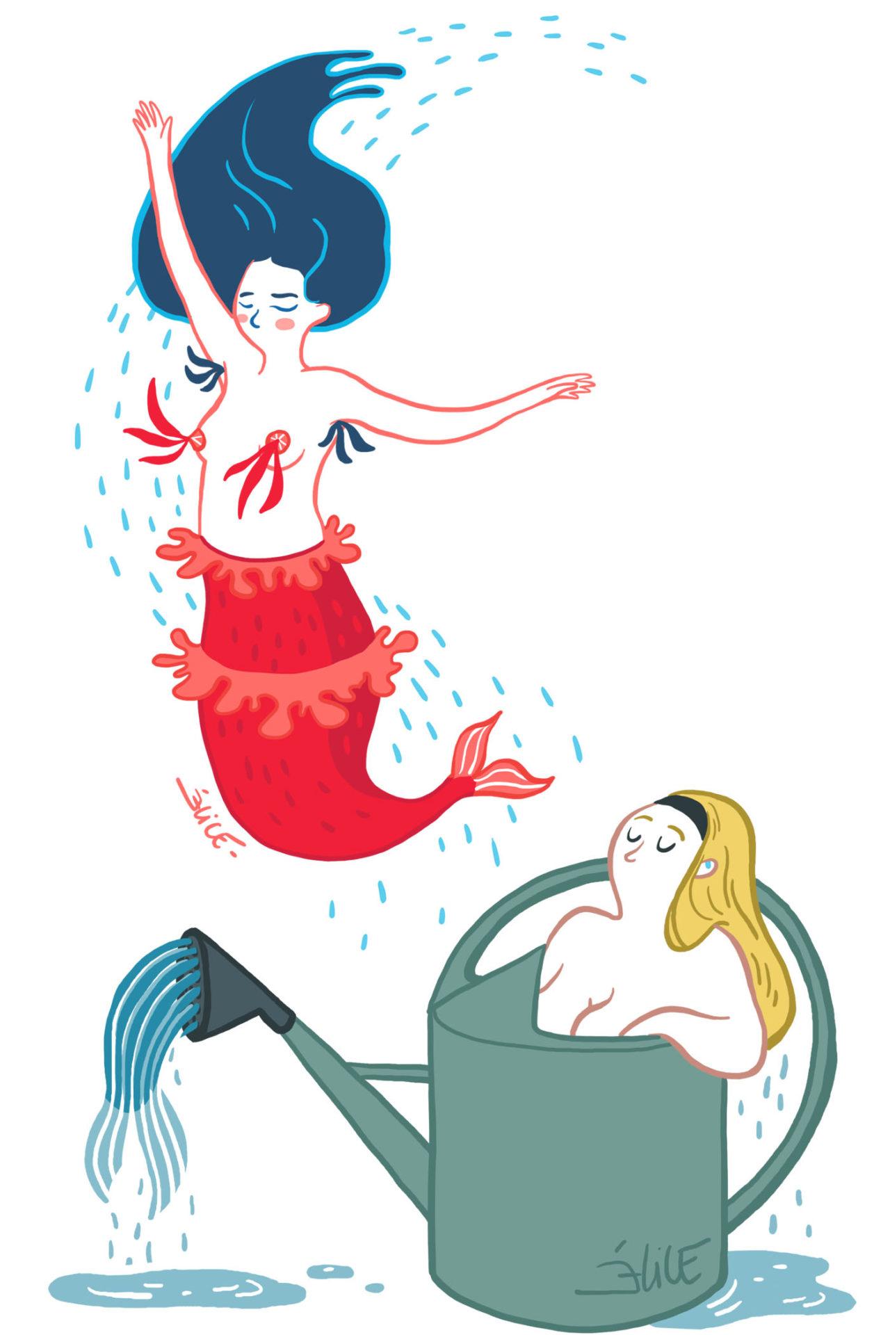 Sirène avec nippies et sirène dans un arrosoir