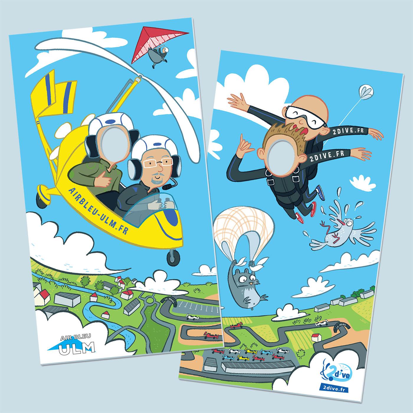 Design de panneaux passe-tête pour une entreprise de parachutisme