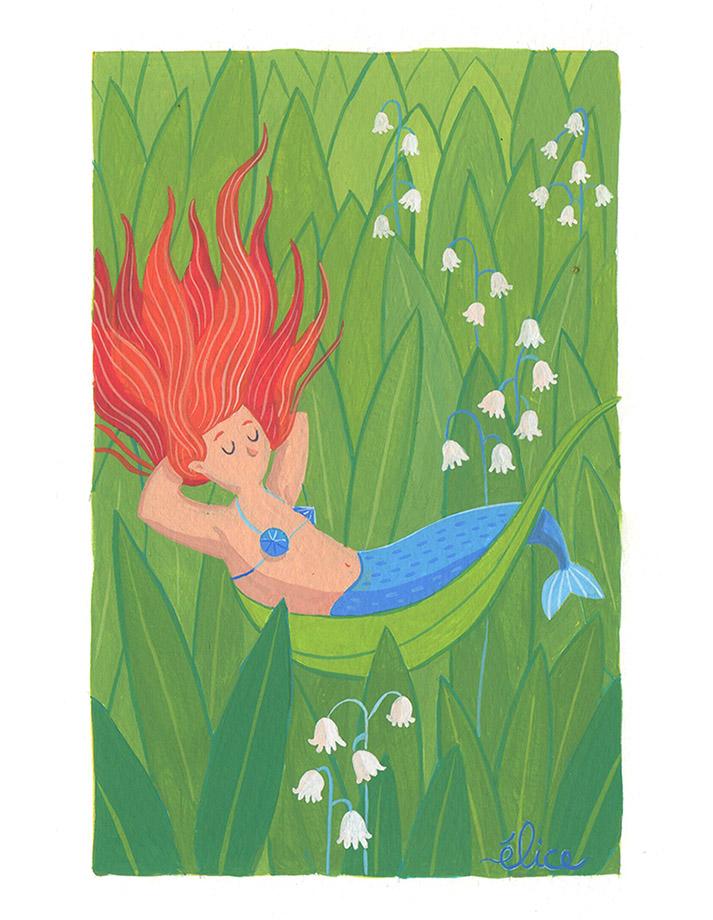 peinture d'une sirène dans un champ de muguet