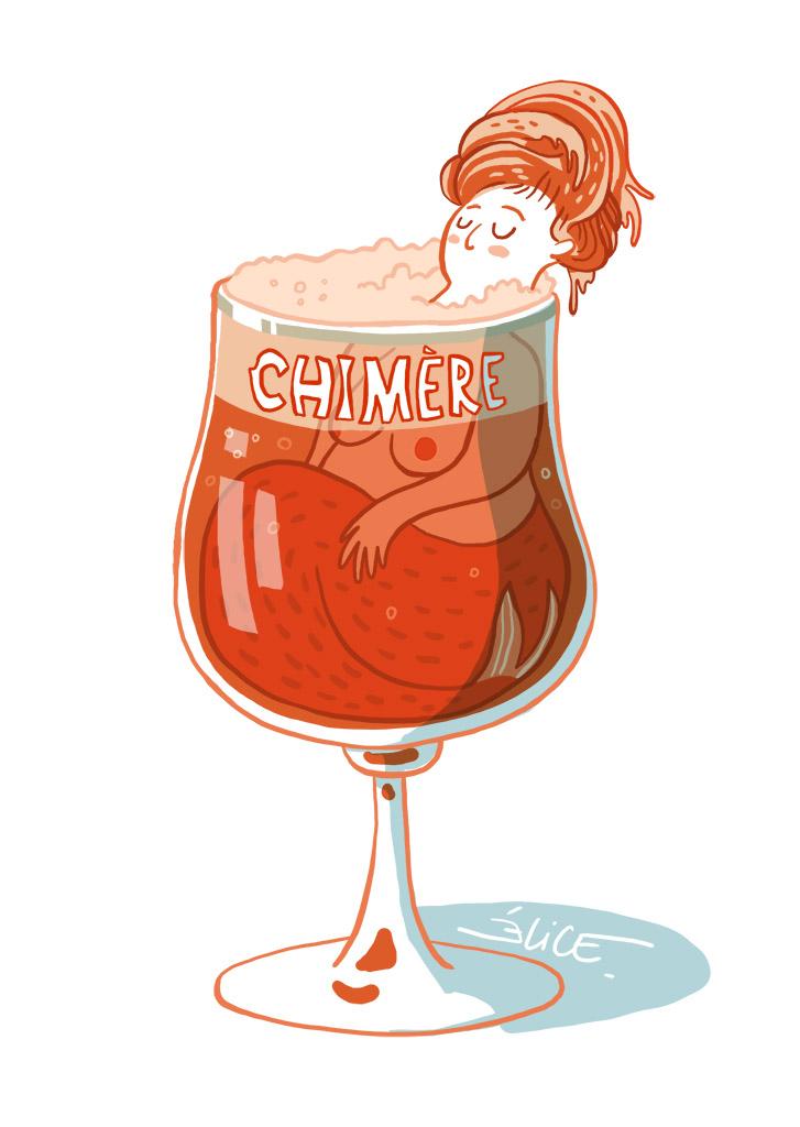 dessin d'une sirène dans un verre de bière
