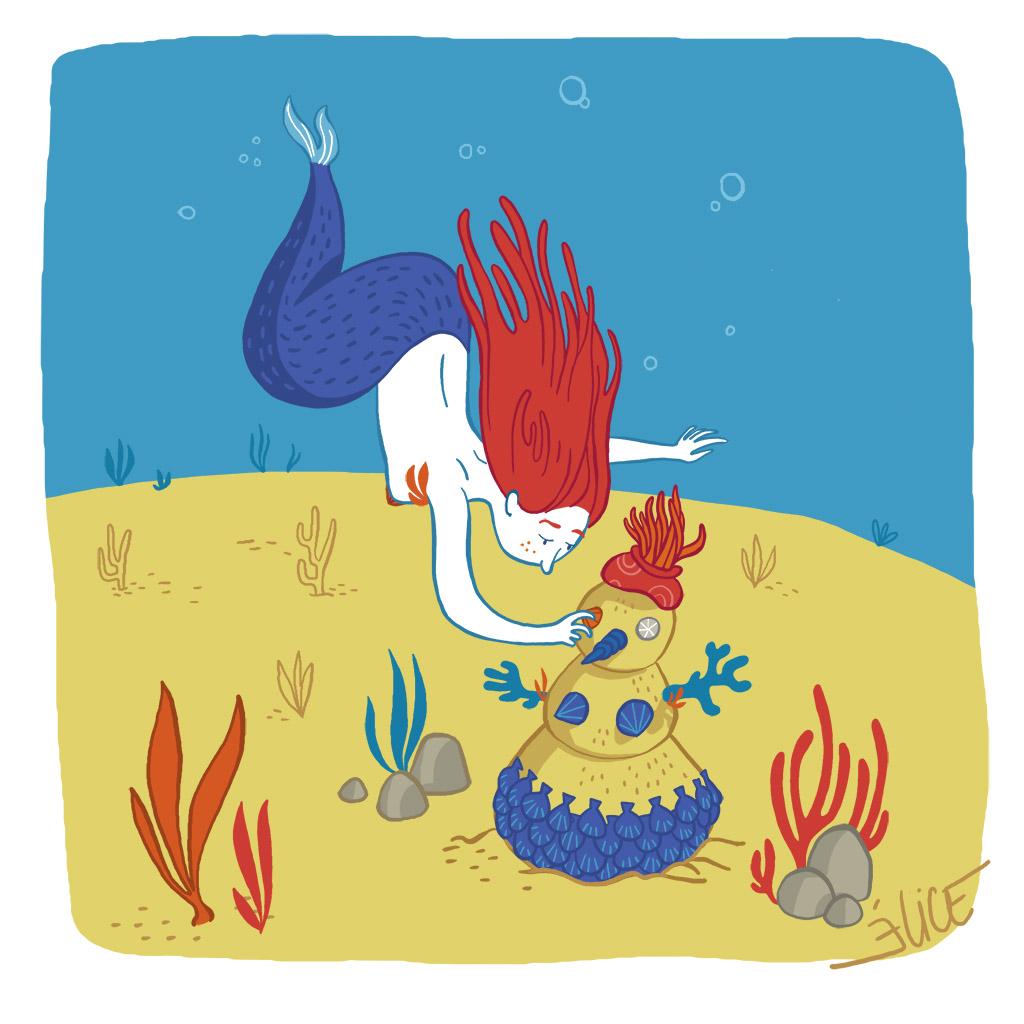 dessin d'une sirène jouant dans le sable