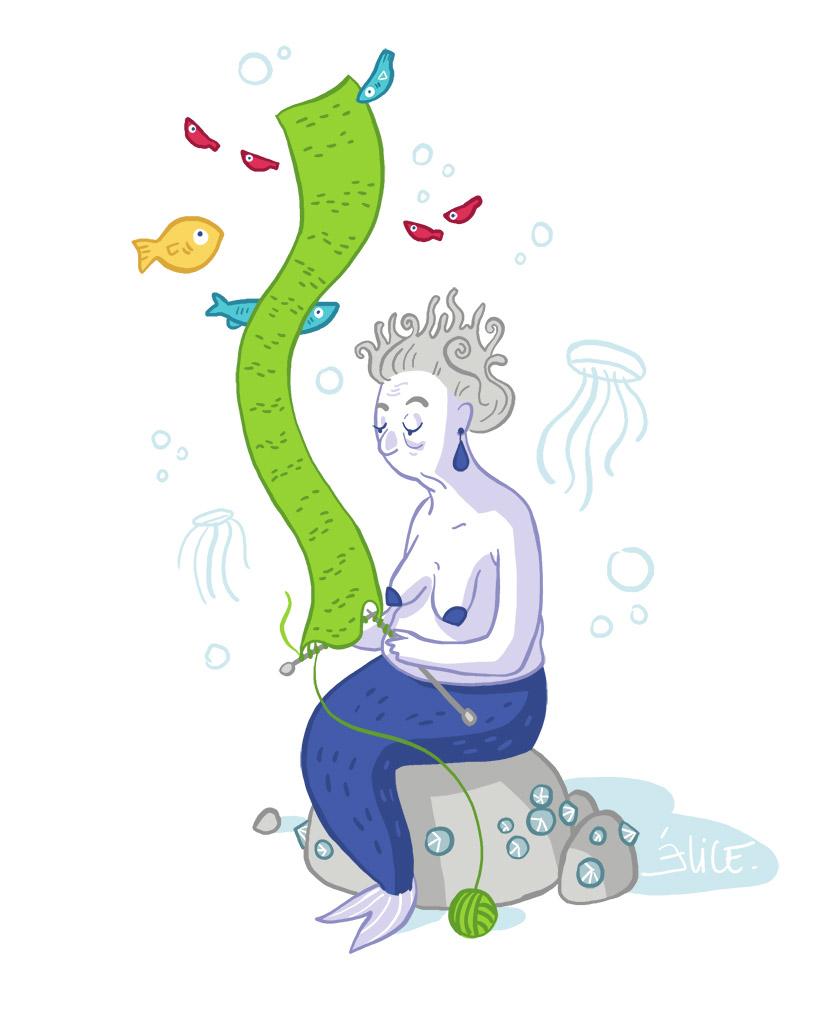 dessin d'une vieille sirène tricotant sous l'eau