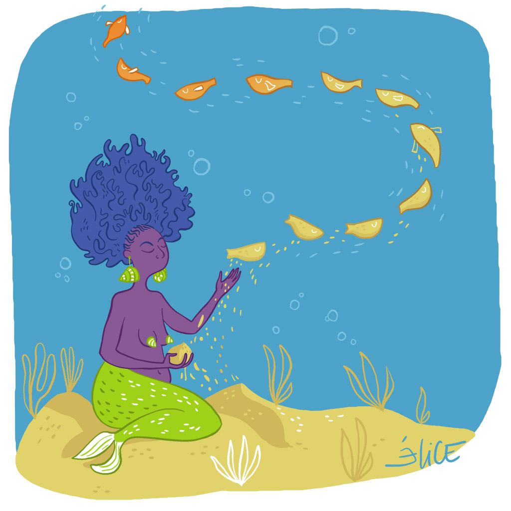 dessin d'une sirène afro sculptant des poissons