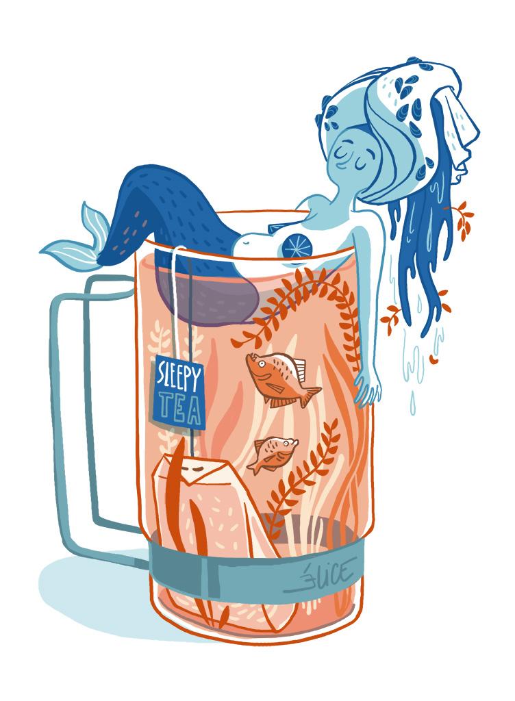 dessin d'une sirène dans une tasse de thé