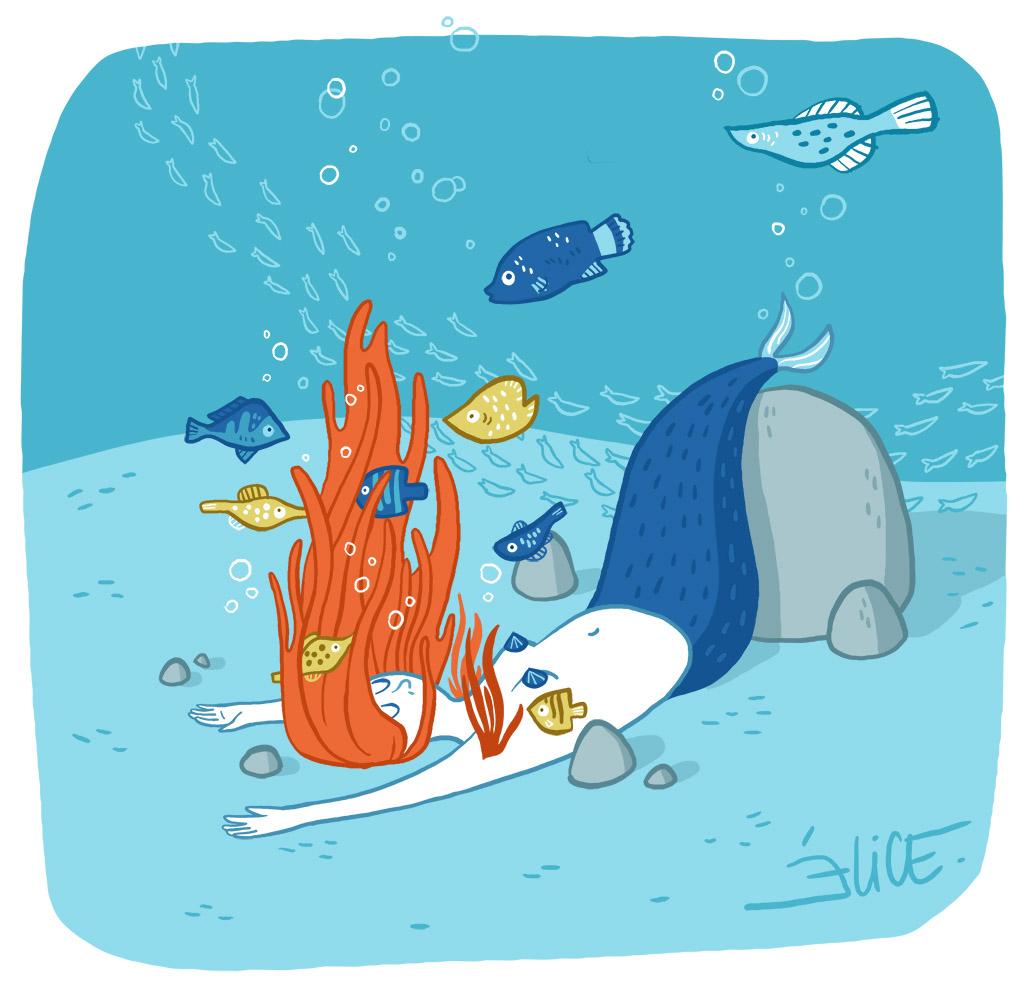 dessin de sirène au fond de l'océan