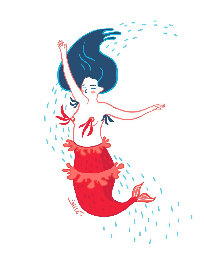 dessin de sirène qui danse avec des nippies