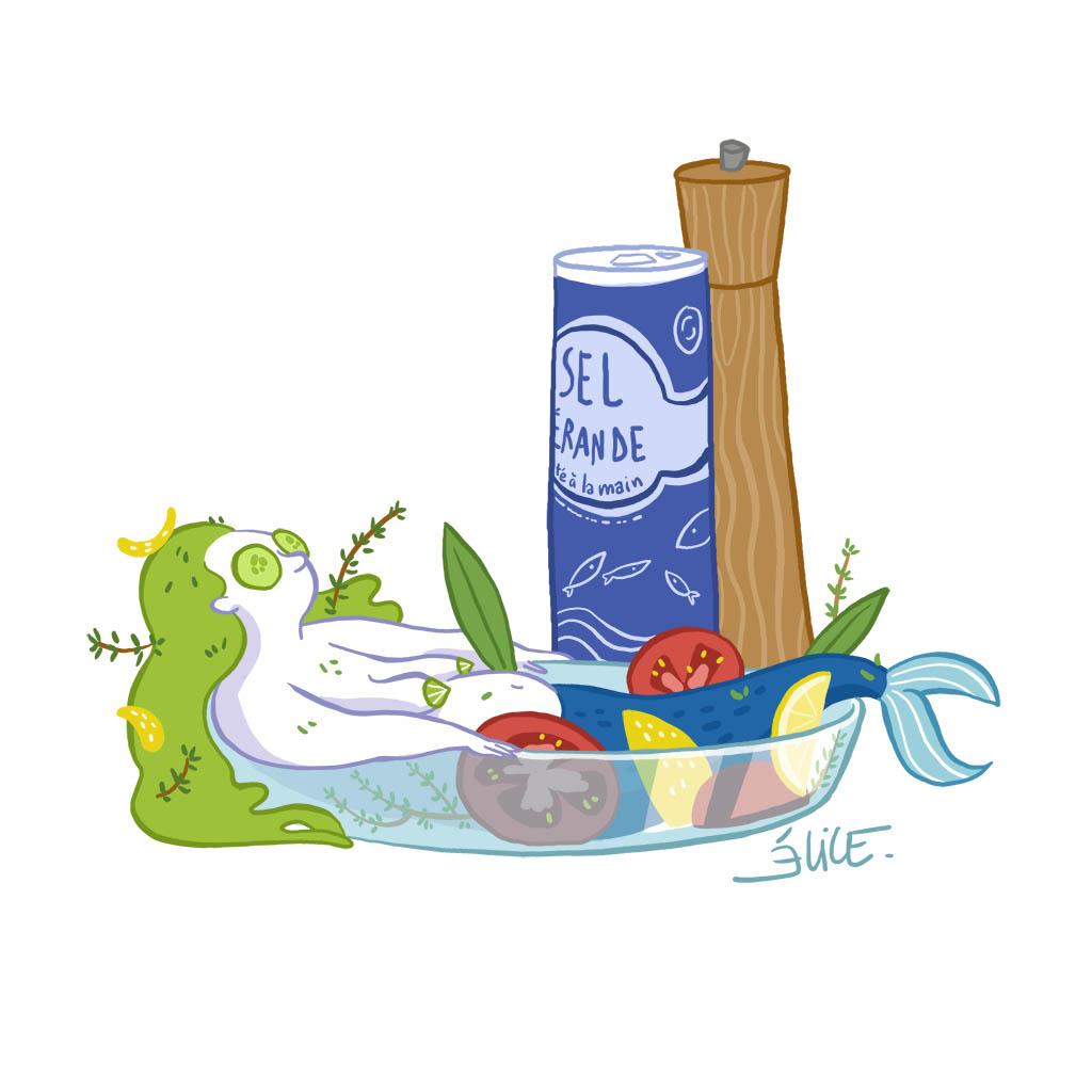 dessin de sirène en marinade