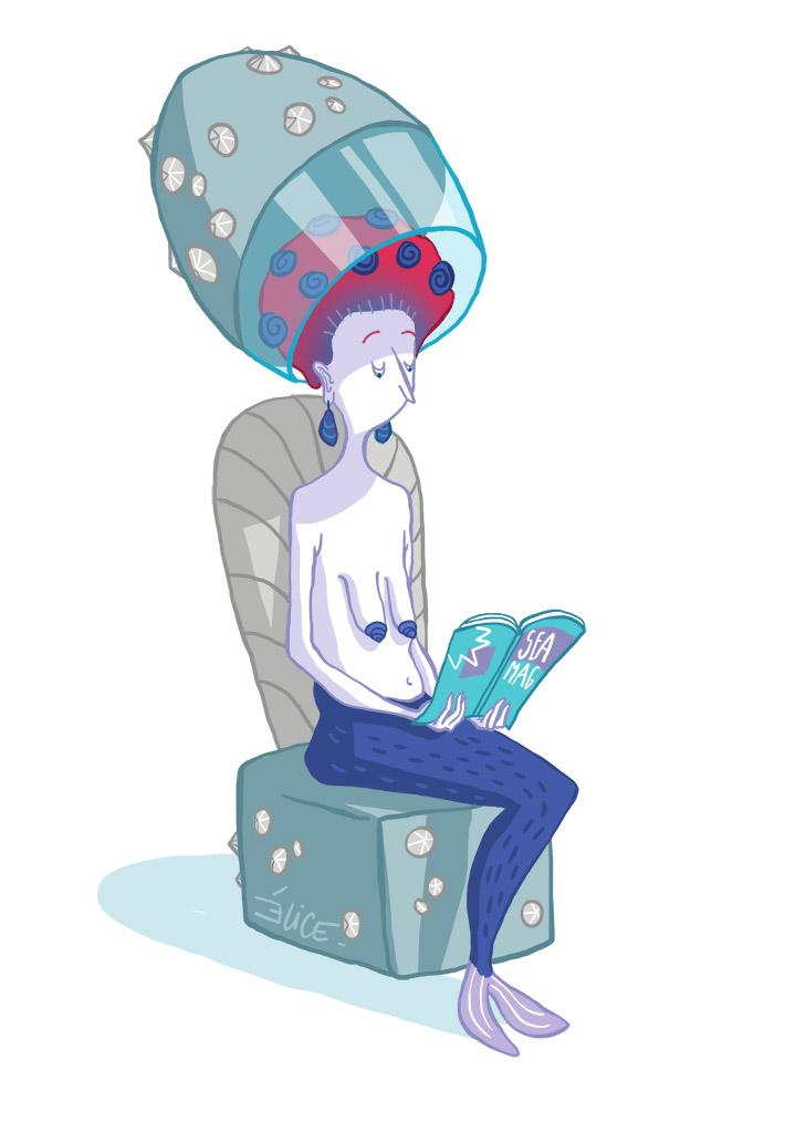 dessin d'une sirène chez le coiffeur