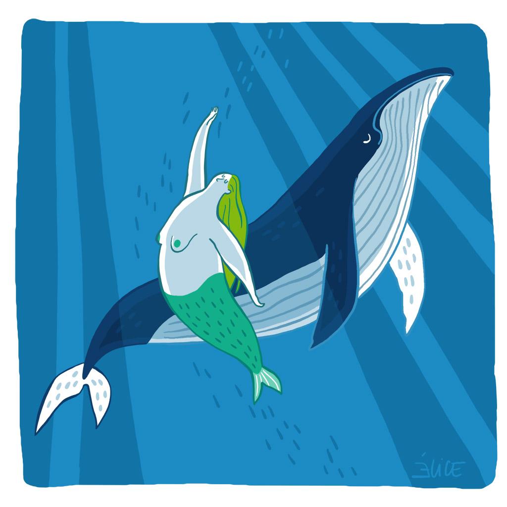dessin d'une sirène nageant avec une baleine