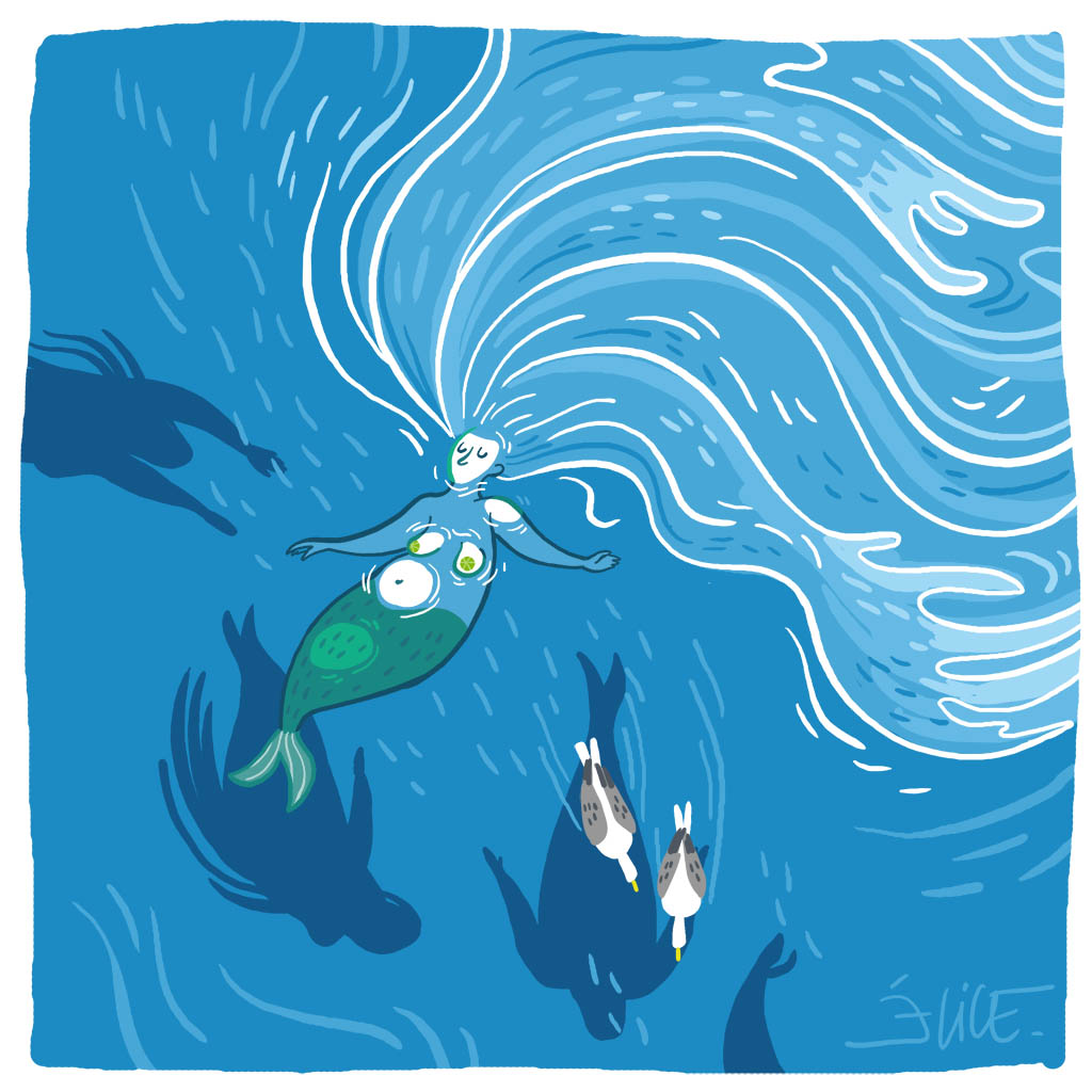 dessin de sirène faisant la planche sur l'océan