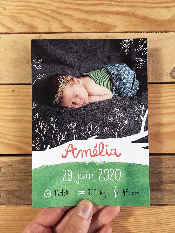 faire part de naissance ambiance nature avec photo du bébé