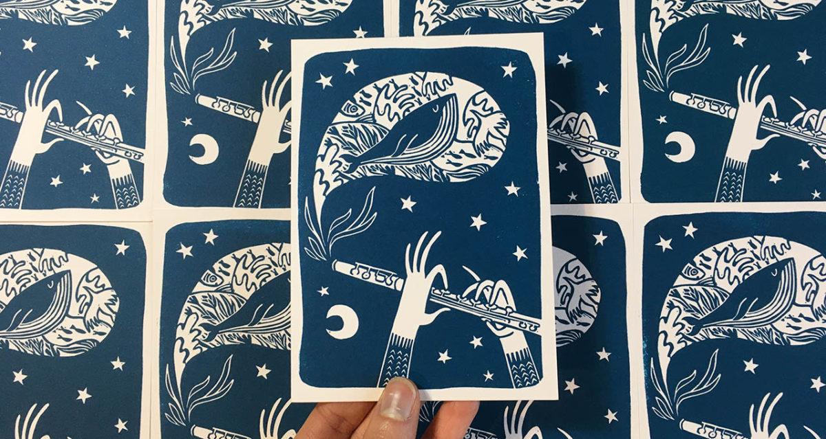 flute traversiaire et baleine dans la nuit étoilée