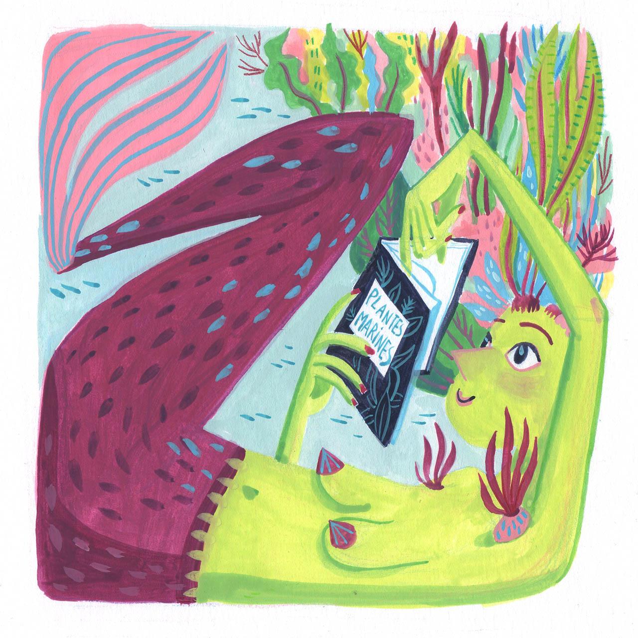peinture à la gouache d'une sirène en train de lire