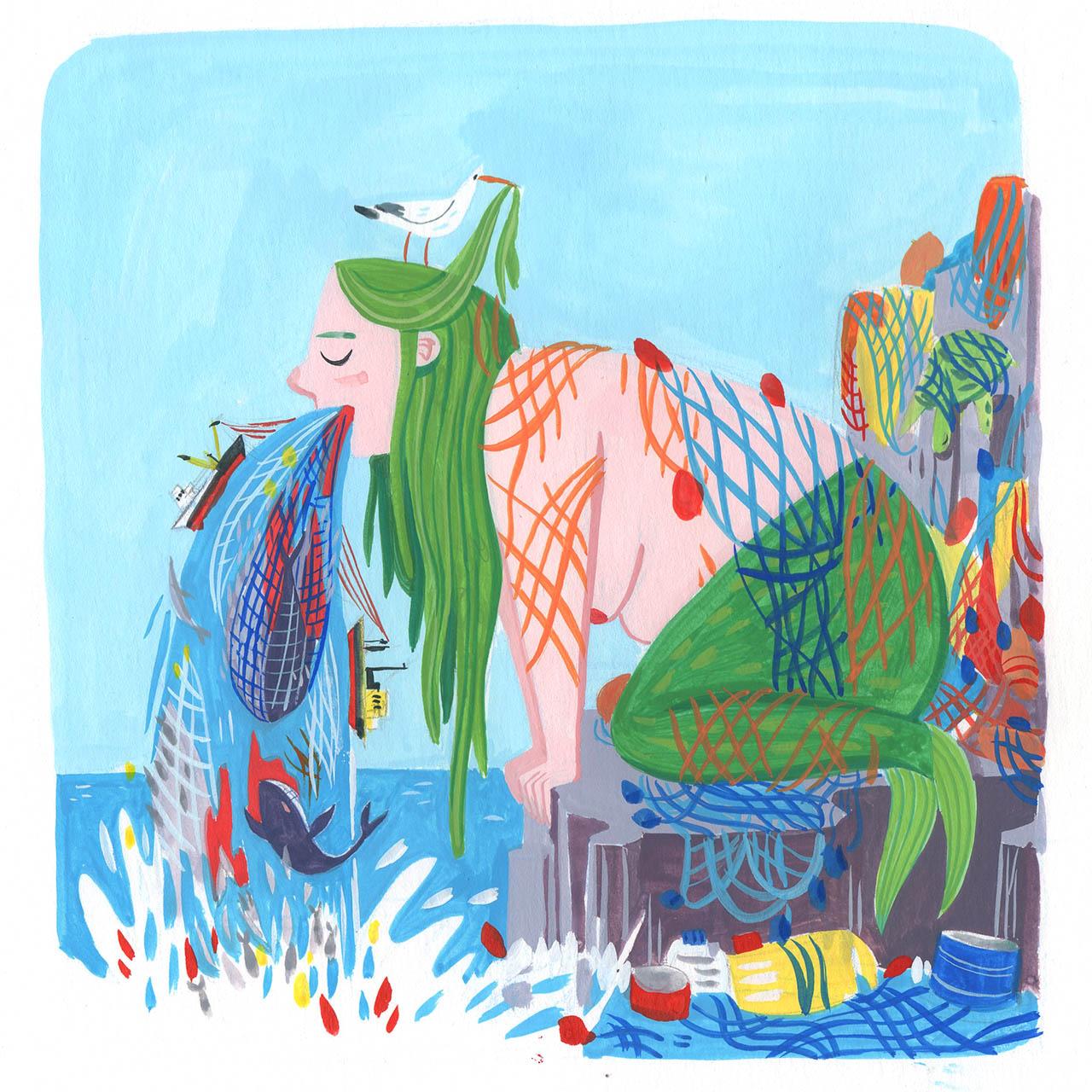 peinture de sirène qui vomit l'océan