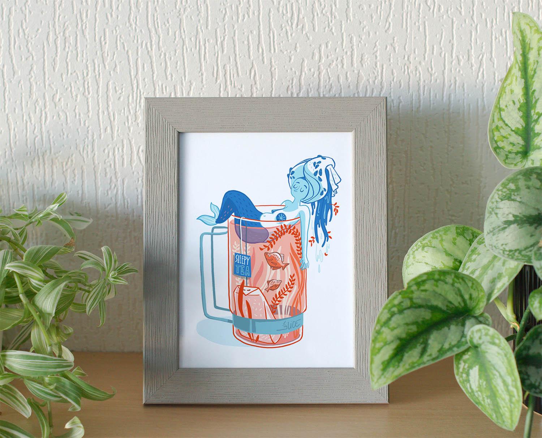 illustration d'une sirène dans une tasse de thé