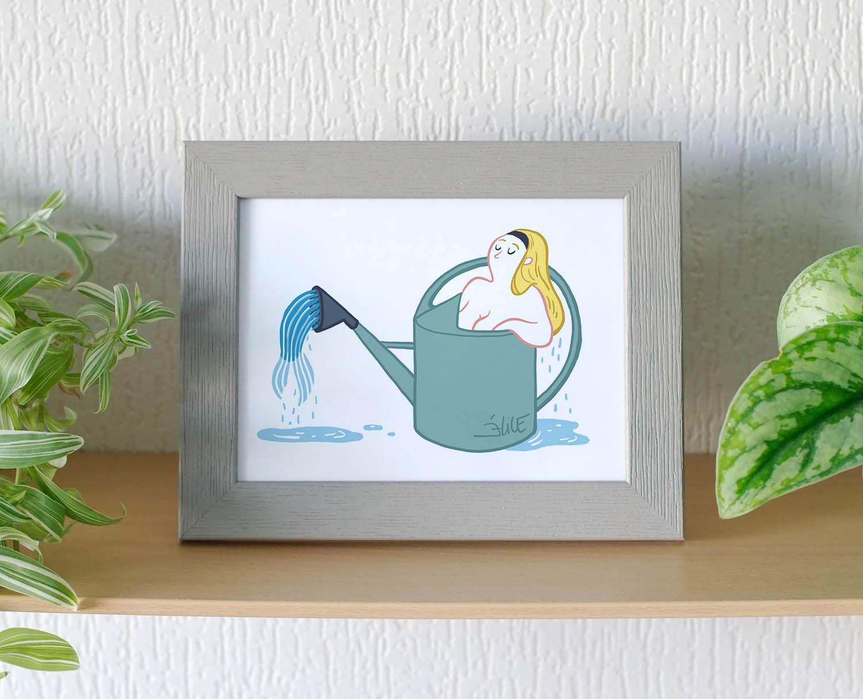 illustration d'une sirène dans un arrosoir